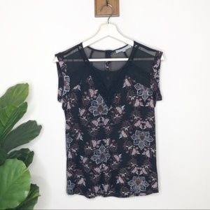Daniel Rainn black floral sheer back blouse